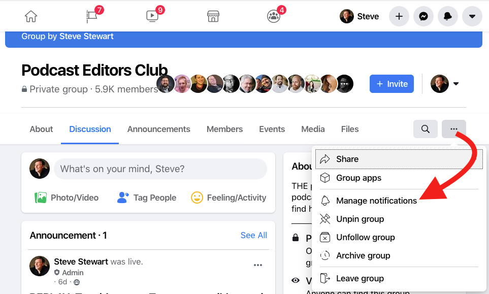 Facebook Manage Notifications
